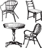 Set of furniture. Hand drawn illustration of table, chair, armchair