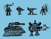 set of futuristic soldiers