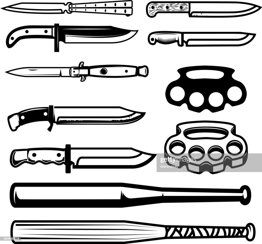 Set of gangsta weapon. Knives, brass knuckle, baseball bats. Design elements for poster, emblem, sign. Vector illustration