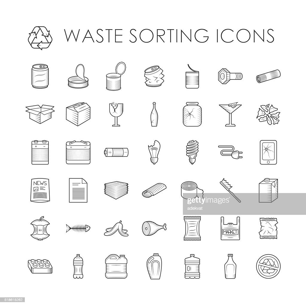 Set of garbage separation recycling related waste sorting outline icons