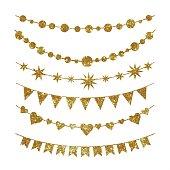 Set of garlands made of gold glitter texture.
