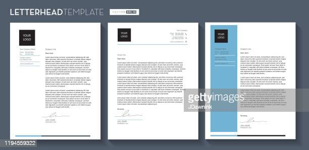 set of generic company letterhead template design 8.5x11 inches - jdawnink stock illustrations