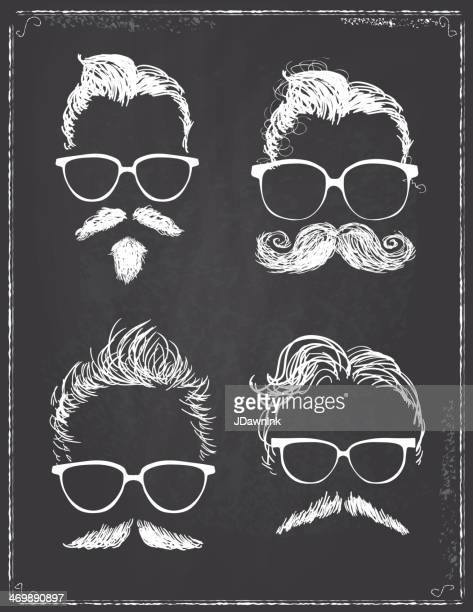 Set of gentleman hipster features on chalkboard
