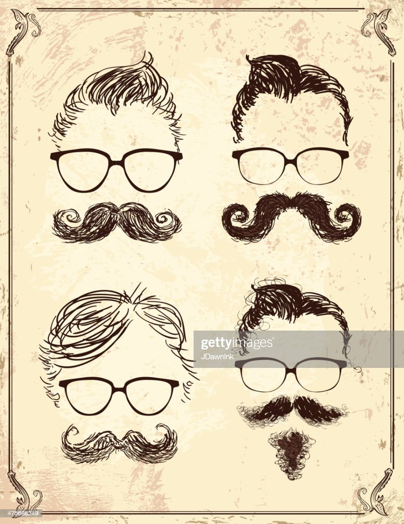 Set of gentleman hipster features on old fashioned background : stock illustration