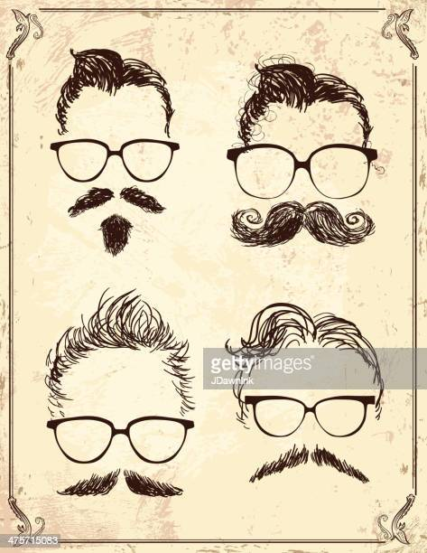 set of gentleman hipster features on old fashioned background - moustache stock illustrations