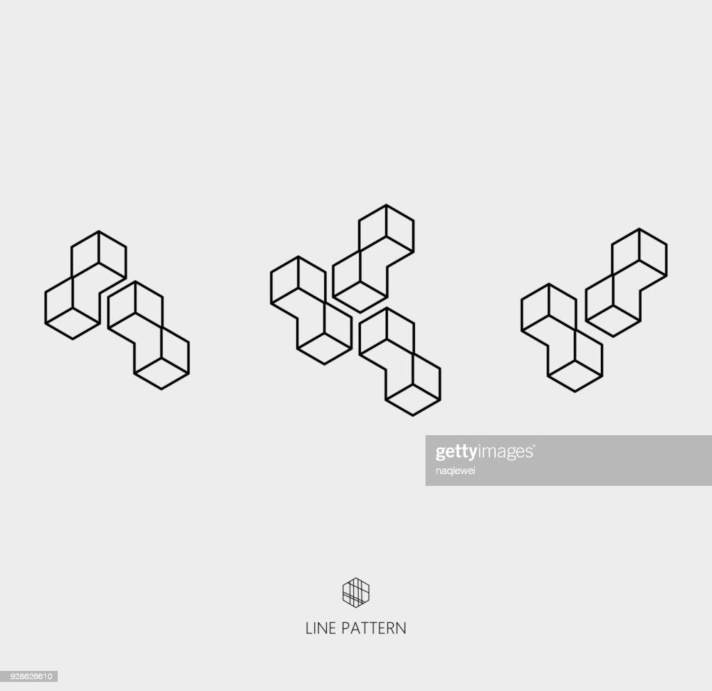 set of geometric line icon : stock illustration