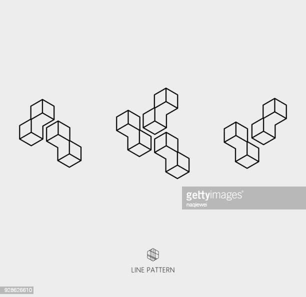 set of geometric line icon - single line stock illustrations