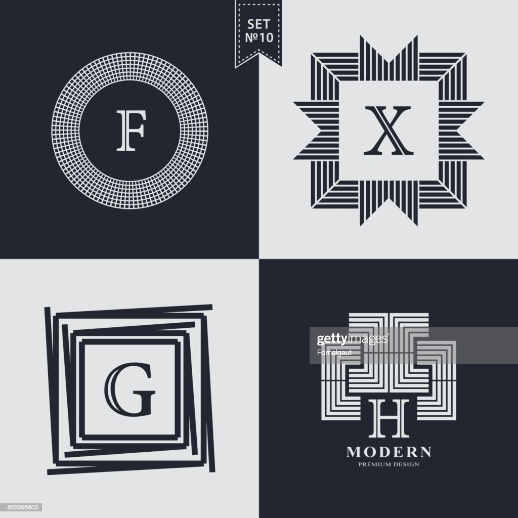 Set Of Geometric Linear Monogram Template. Modern Logo Design. Letter  Emblem F, X