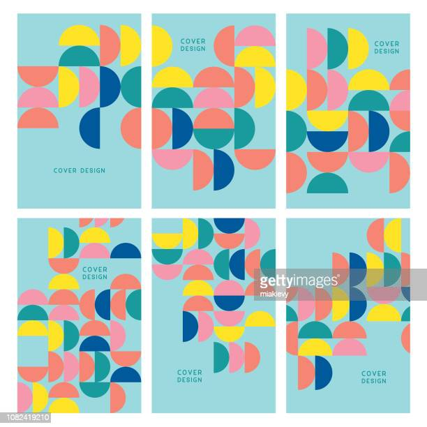 illustrazioni stock, clip art, cartoni animati e icone di tendenza di set of geometric minimal cover templates - collezione