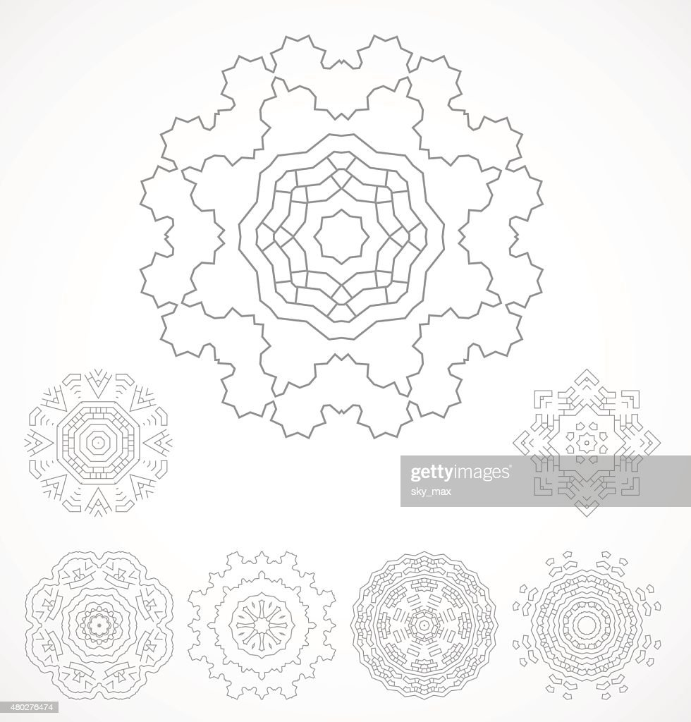 Set of geometric outline rosetta ornamet