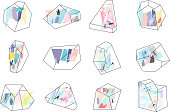 Set of geometric outline shapes and crystals.