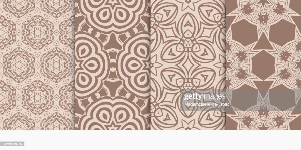 Ensemble De Motifs Geometriques En Style Abstrait Ornement Ethnique