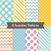 Set of Geometric Patterns with Polka Dot, Diagonal Stripe, Chevron