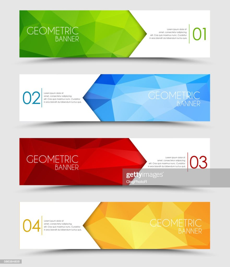 Set of geometric polygonal banners