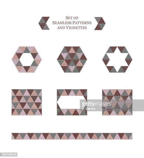 ilustraciones, imágenes clip art, dibujos animados e iconos de stock de conjunto de patrones geométricos transparentes y viñetas - patchwork