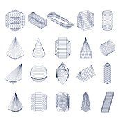 Set of geometric shapes. Isometric view.