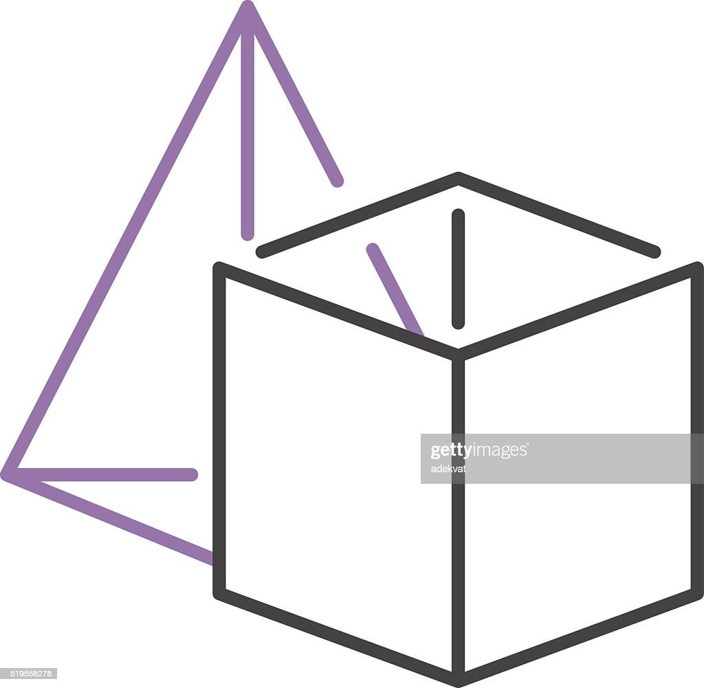 Set Of Geometric Shapes Platonic Solids Pyramid And Cube Vector