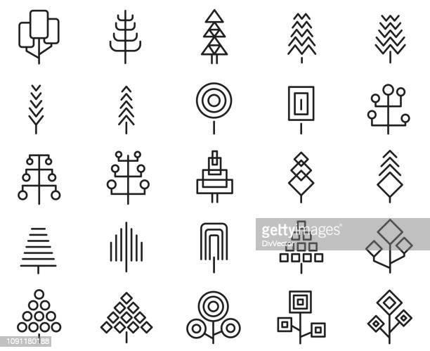 set of geometric tree icon set - pine tree stock illustrations