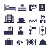 set of geometric vector icons for hotel service