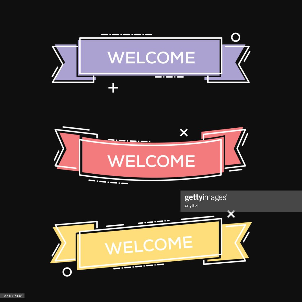 Set of Geometric Vector Welcome Ribbons in Trendy Style : stock illustration