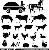 Set of geometrically stylized farm animals