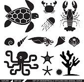 Set of geometrically stylized sea animal icons