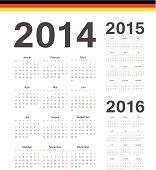 Set of german 2014, 2015, 2016 year vector calendars