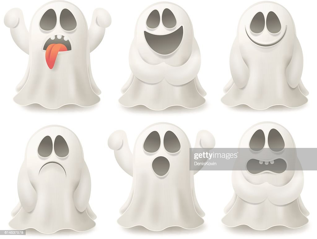 Set of ghost characters emoticons isolated on white background.