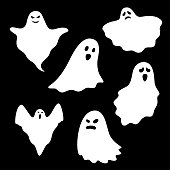 Set of ghost characters on black background, vector illustration