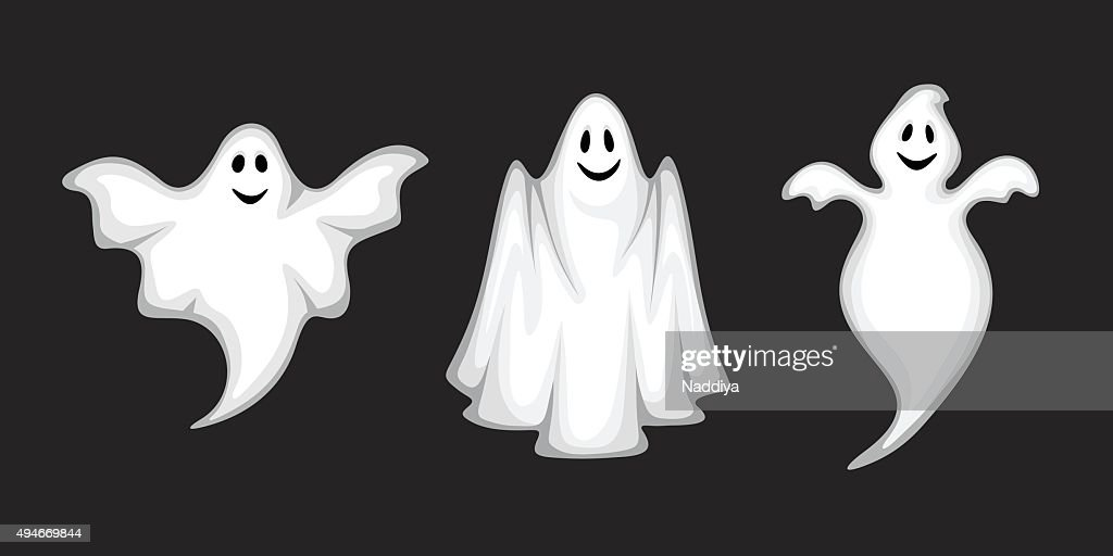 Set of ghosts isolated on black. Vector illustration.