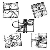 Set of Gift box with ribbon, string and bow. Hand drawn realistic illustration. Top view close up drawing of gift box collection isolated on white background.