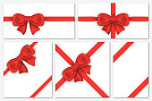 Set of gift cards with luxury red bows. Decorative gift bows with satin ribbons for wrapping, frames, banner, invitation