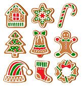 Set of Gingerbread Christmas Cookies Isolated on White