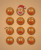 Set of gingerbread man faces. Vector Christmas and New Year holiday elements.