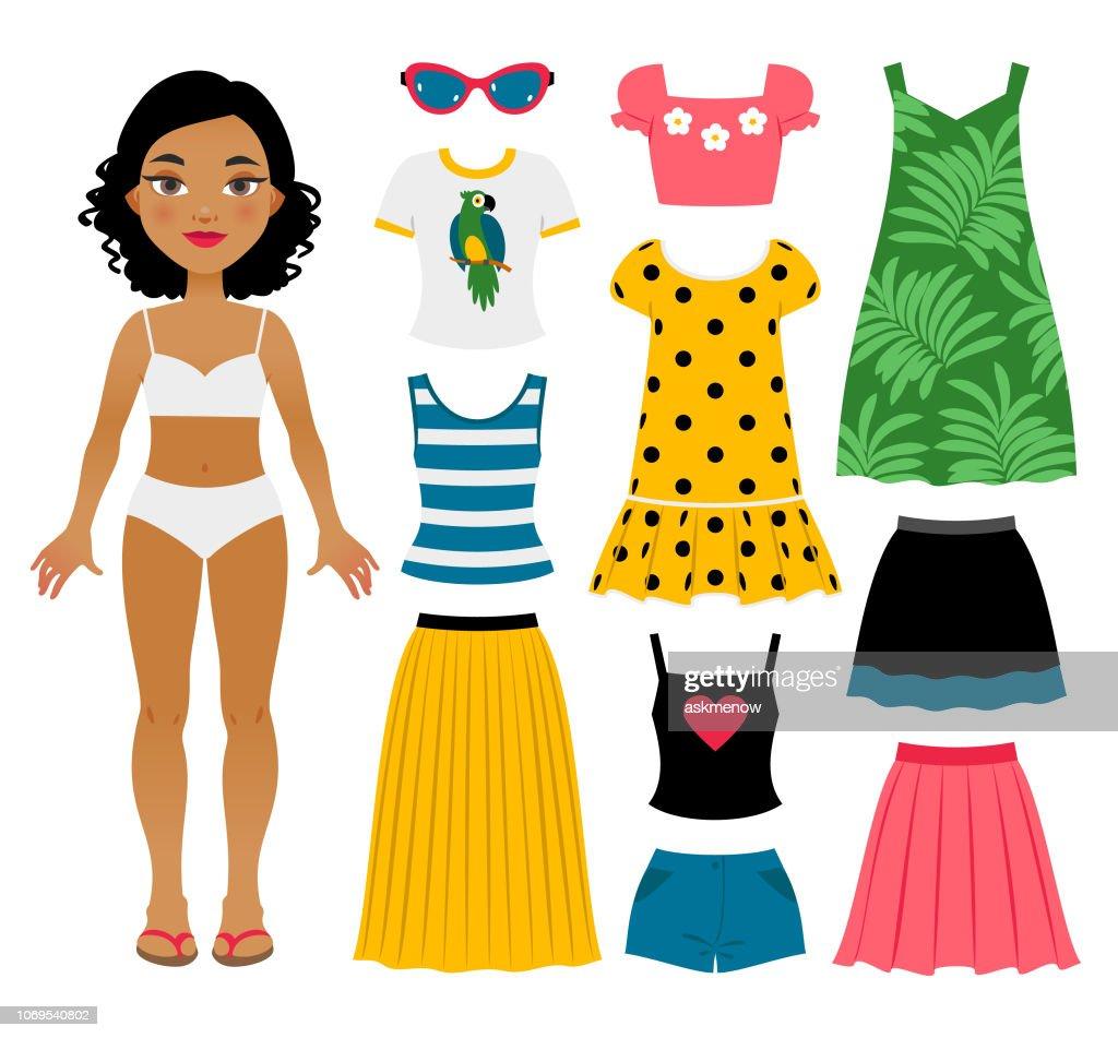Set girl's zomer kleding : Stockillustraties