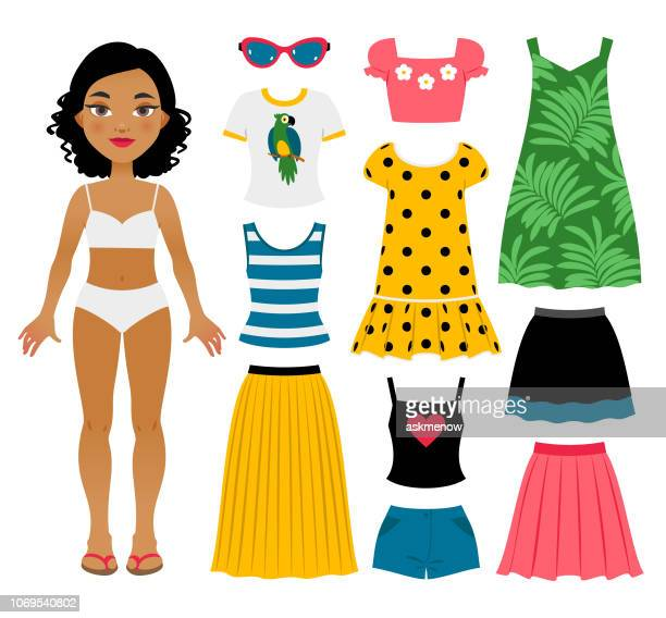 set of girl's summer clothes - dress stock illustrations