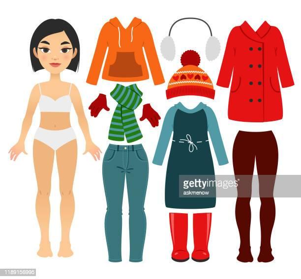 女の子の暖かい服のセット - ショートヘア点のイラスト素材/クリップアート素材/マンガ素材/アイコン素材