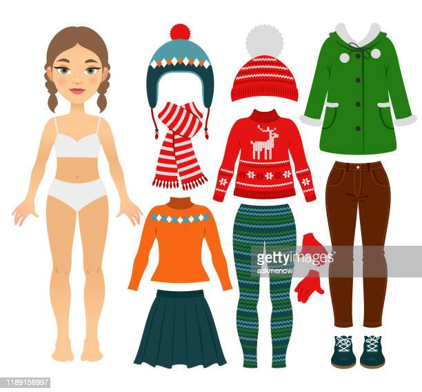 set of girl's warm clothes - little girls undies stock illustrations