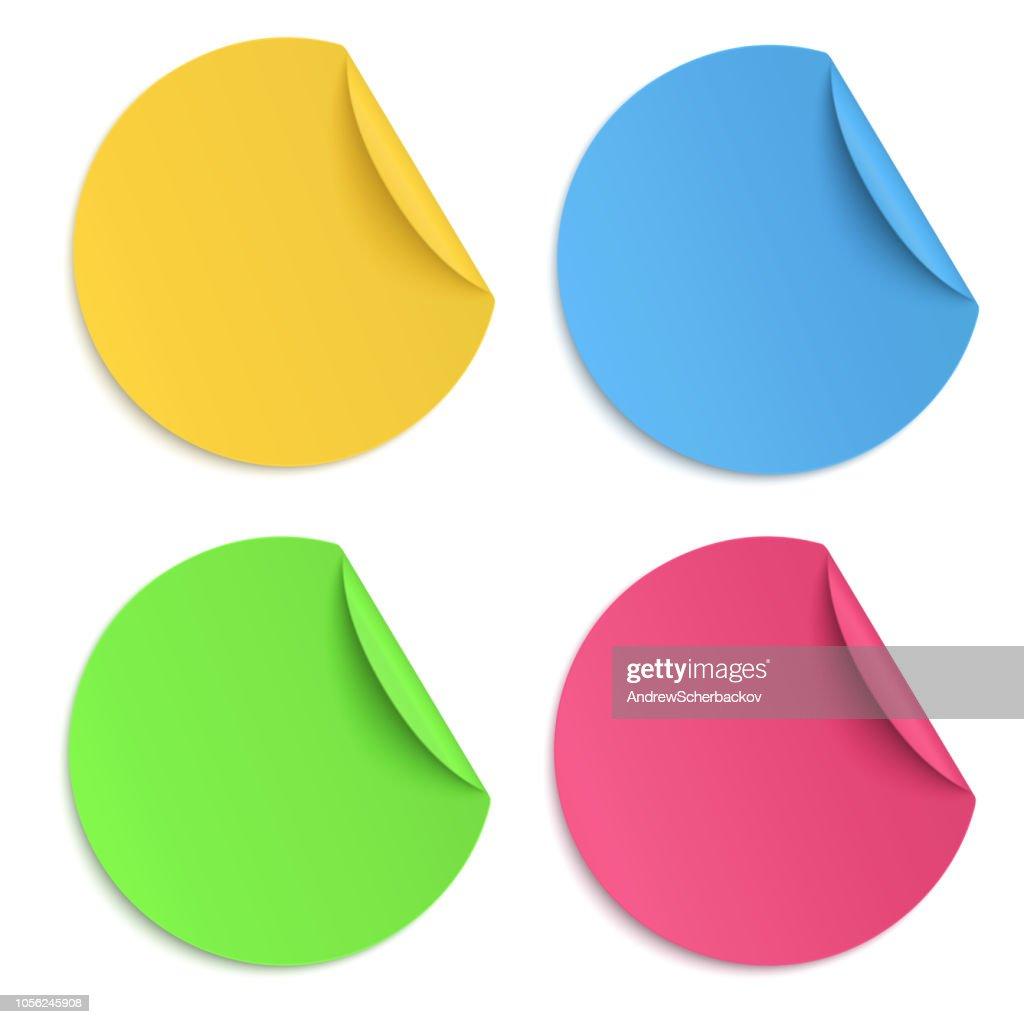 Set of glaring colour round paper sticker isolated on white background