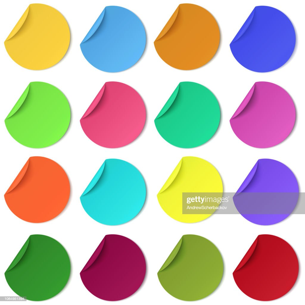 Set of glaring colour round paper sticker with edge curl isolated. Colorful image.