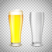Set of glass, empty and with beer on a transparent background.