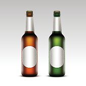 Set of Glass Frosty Bottles Light Beer with labels