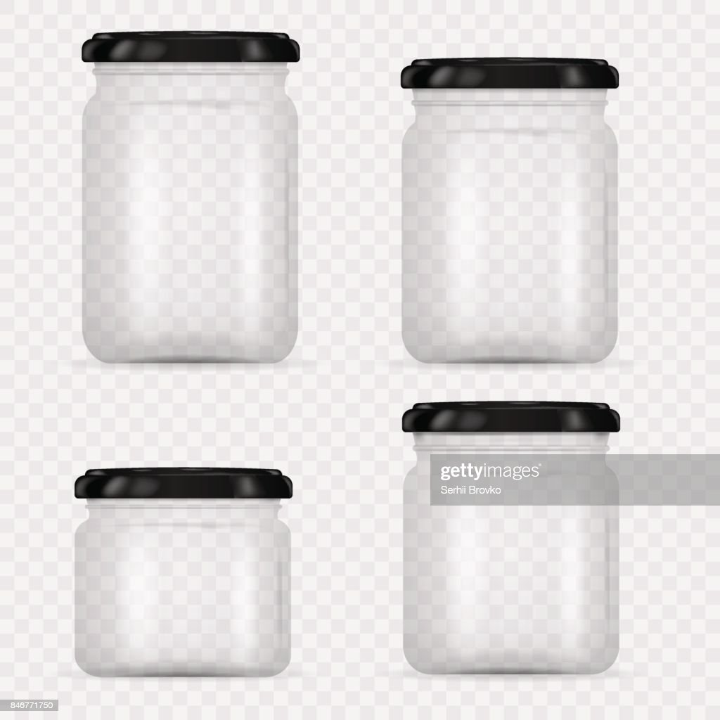 Set of Glass Jars for canning and preserving. Vector Illustration isolated on transparent background.Empty transparent glass jar with screw cap. Round Shape Glass Canister.