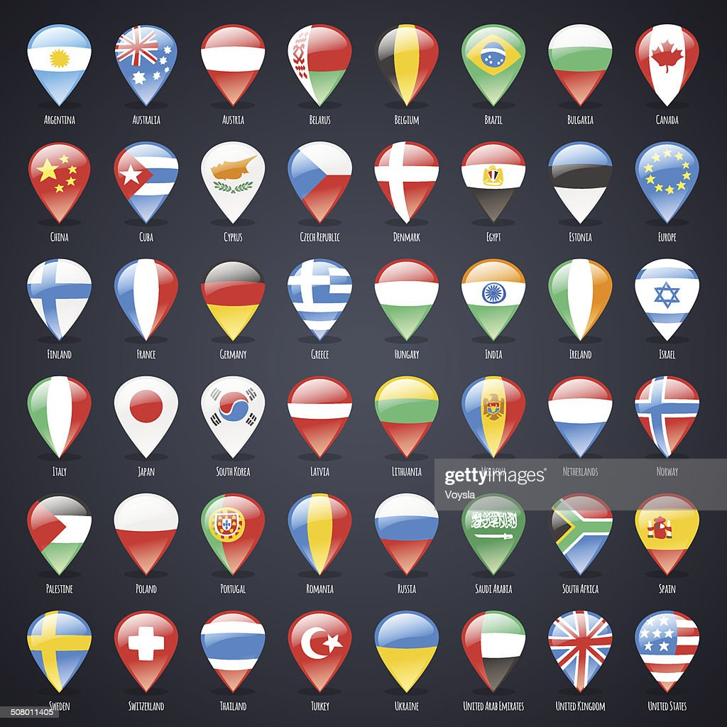 Set of Glass Map Pointers With World States Flags
