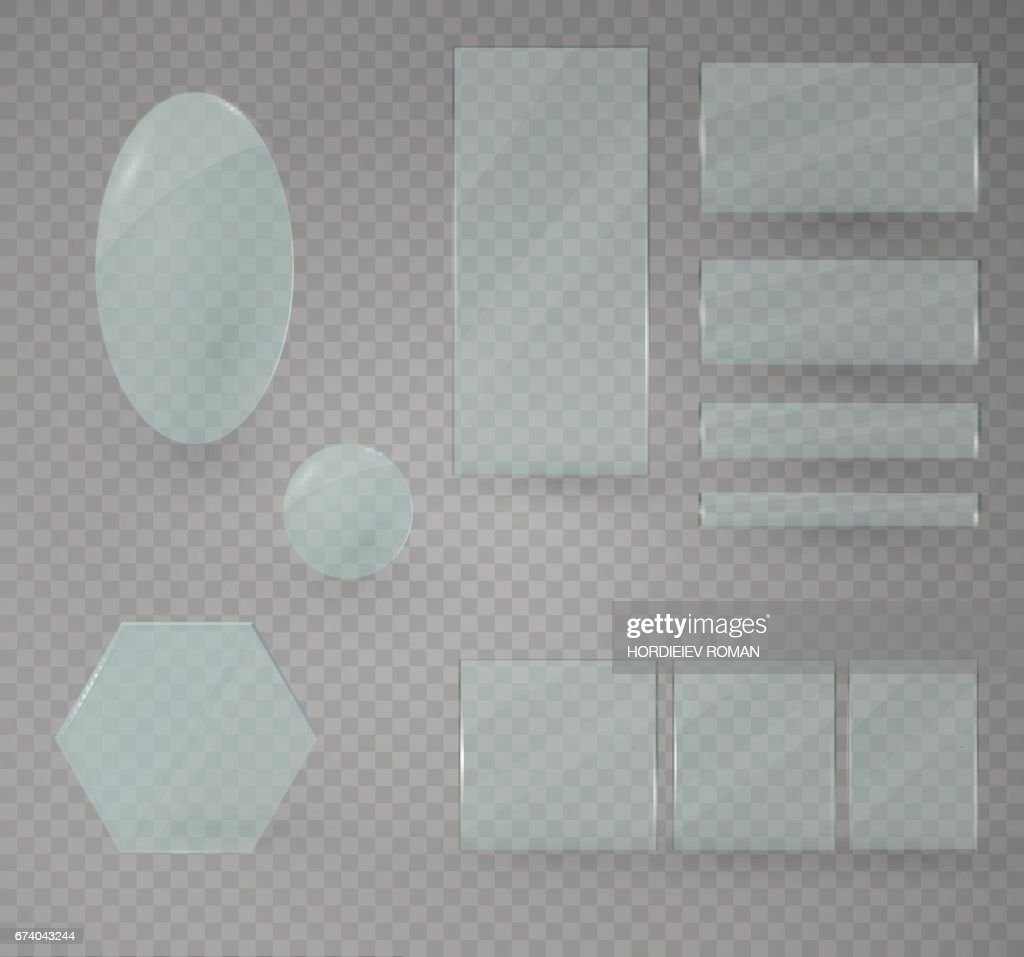 Set of glass plates. Vector glass banners on a transparent background.transparency