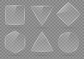 Set of glass, transparent geometric shapes.