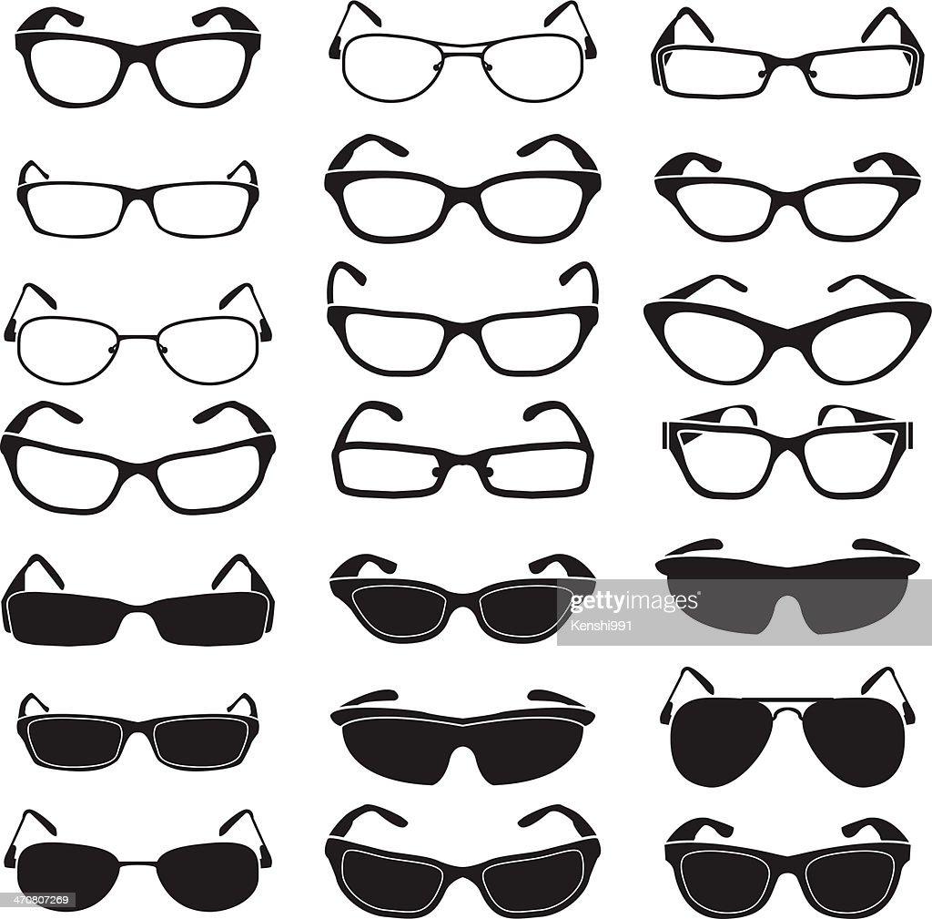 Set of glasses and sunglasses