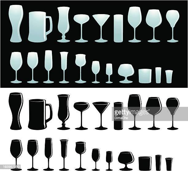set of glassware - brandy stock illustrations, clip art, cartoons, & icons