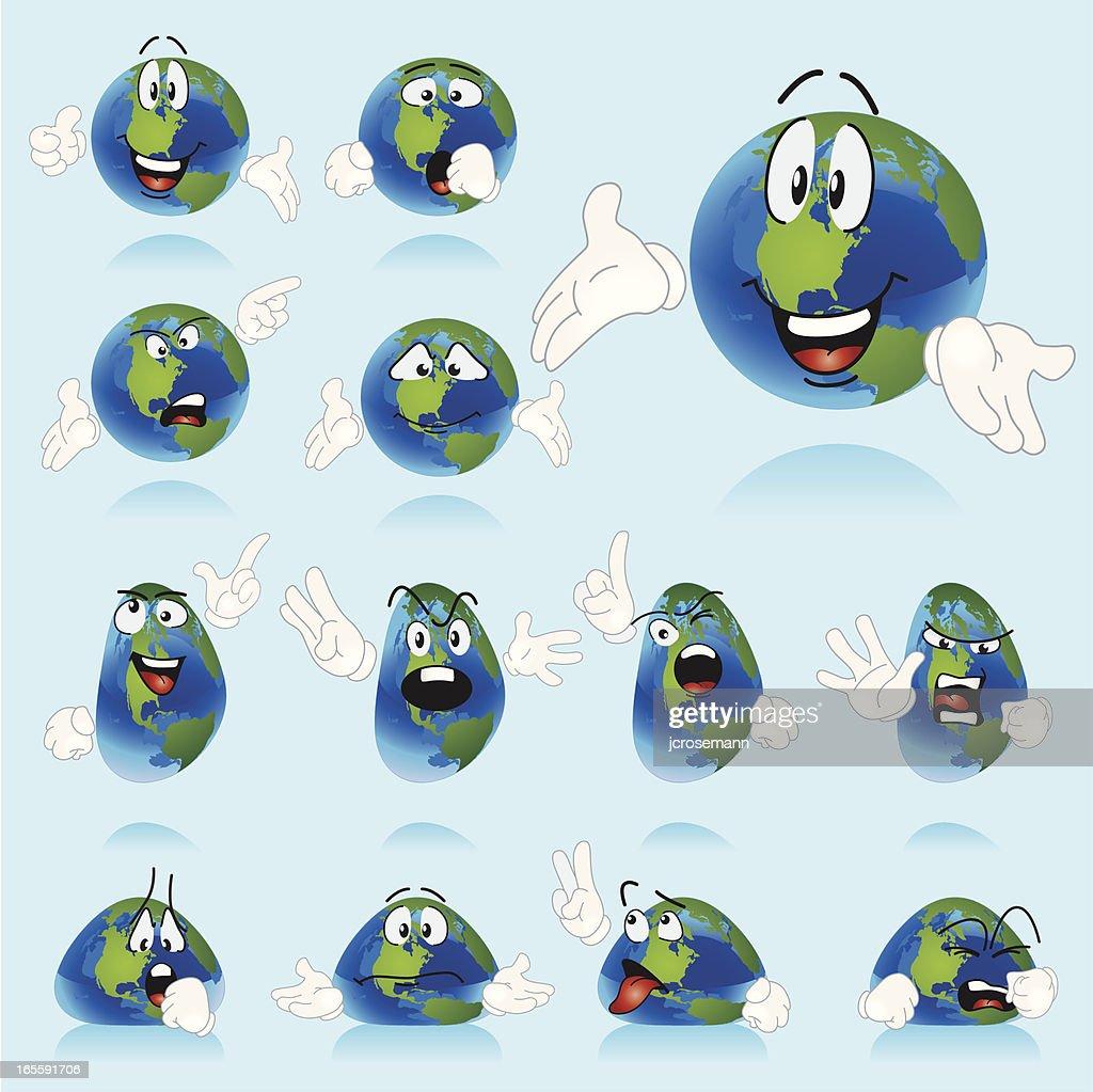 Set of Globe Characters