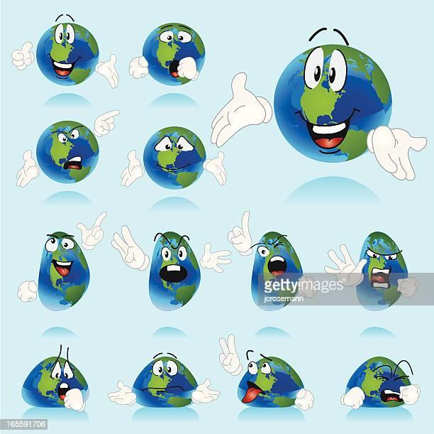 illustrazioni stock, clip art, cartoni animati e icone di tendenza di set di caratteri del mondo - mondo beat